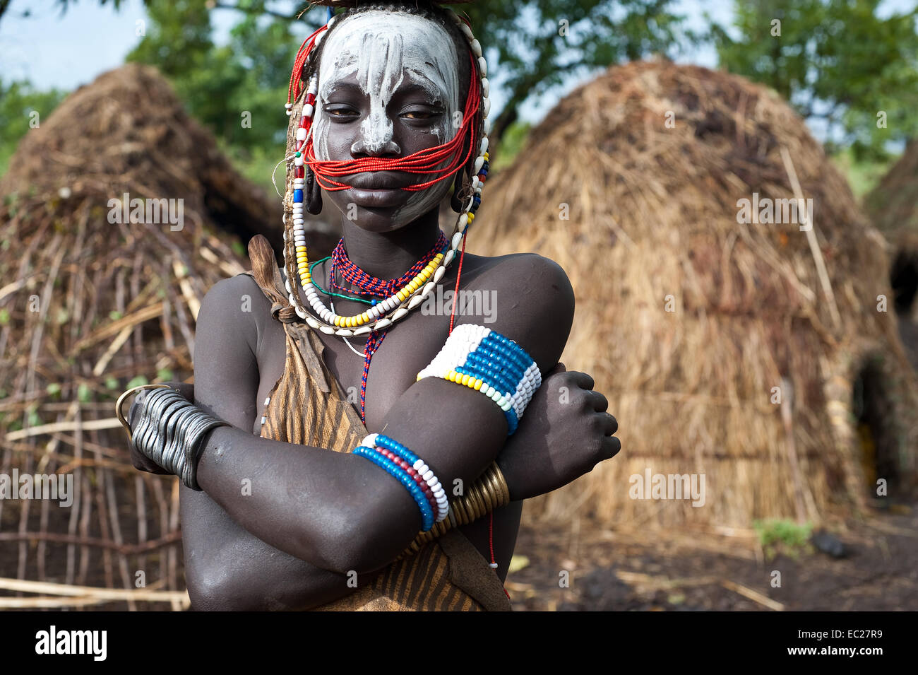 Girl belonging to the Mursi tribe ( Ethiopia) - Stock Image