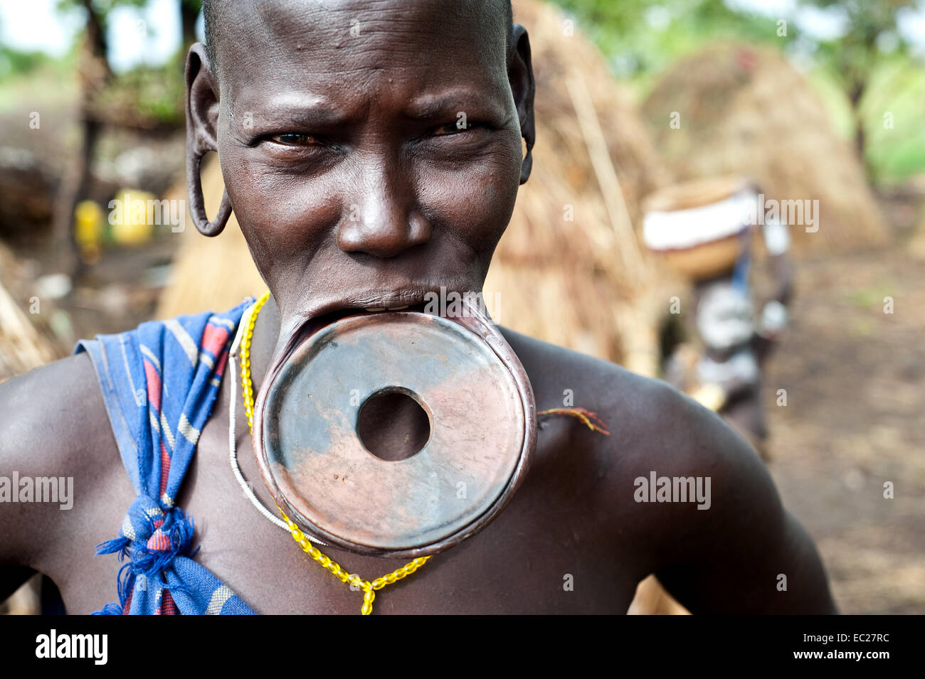 Woman belonging to the Mursi tribe ( Ethiopia) - Stock Image