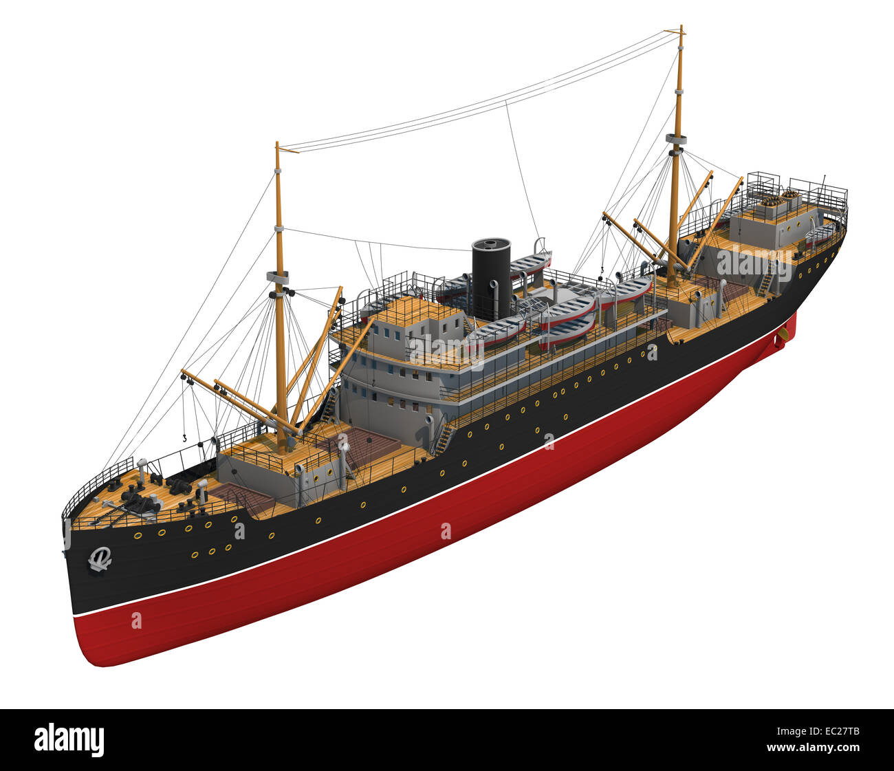 Cargo Ship. 3D Model On A White Background. - Stock Image