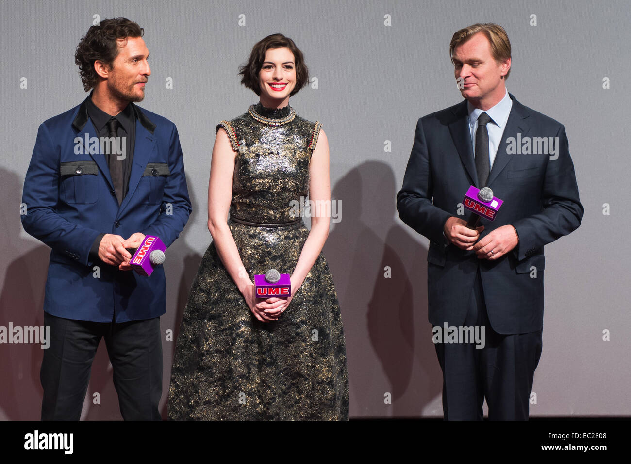 Shanghai, China. 10th Nov, 2014.  Matthew McConaughey, Anne Hathaway, Director Christoper Nolan talk on stage at - Stock Image