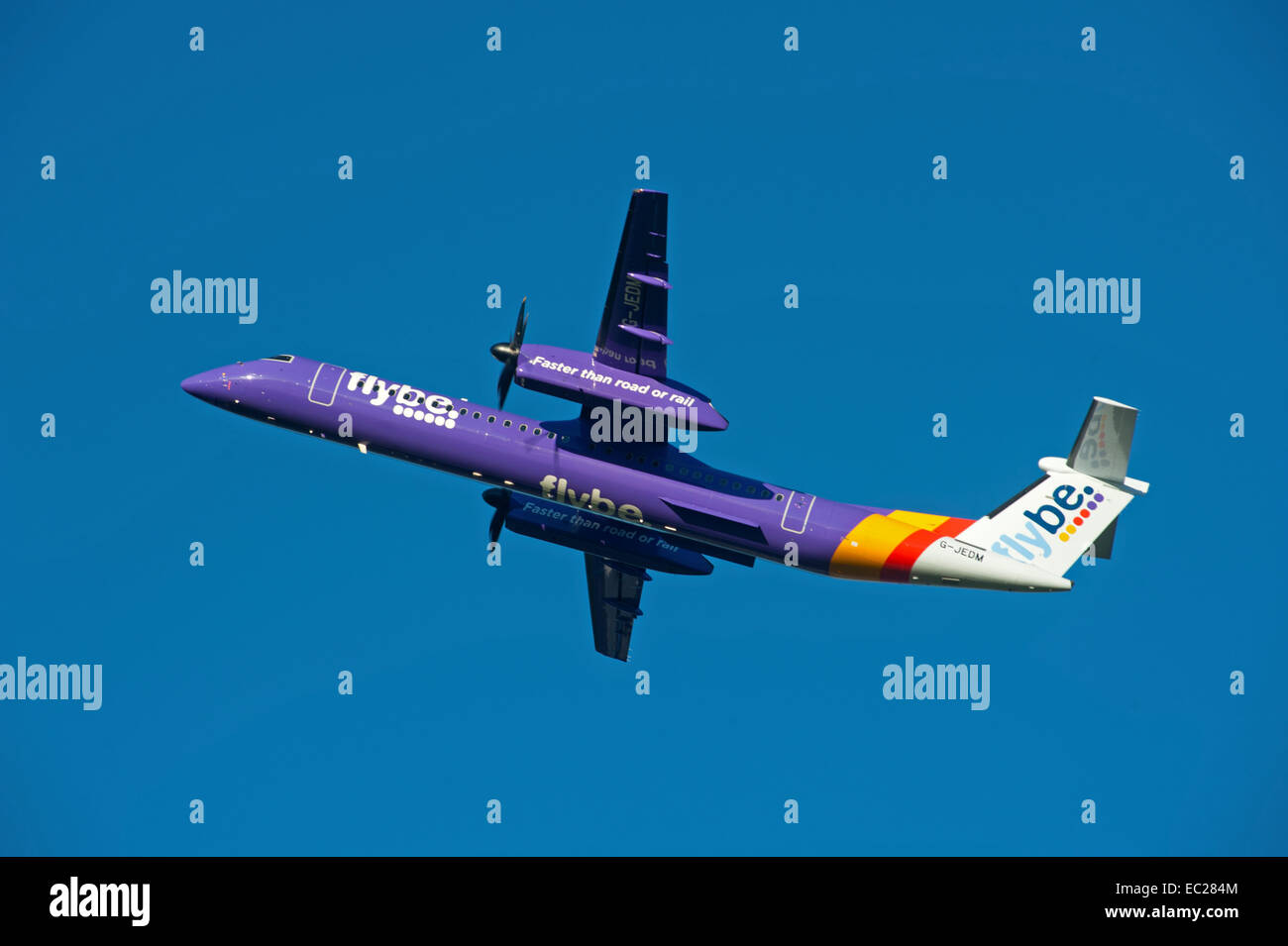 Flybe British European DCH Bombardier -8-402-Q400 Short haul commuter airline.  SCO 9269. - Stock Image