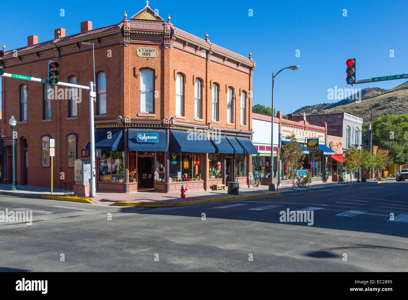 Downtown area of historic old city of Salida in the Rocky Mountains in central Colorado - Stock Image