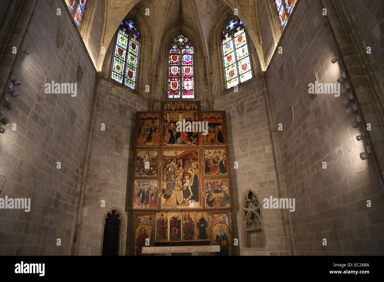 Spain. Barcelona. The Palatine Chapel of St. Agatha (1302). Polygonal apse. Complex of Grand Royal Palace. - Stock Image