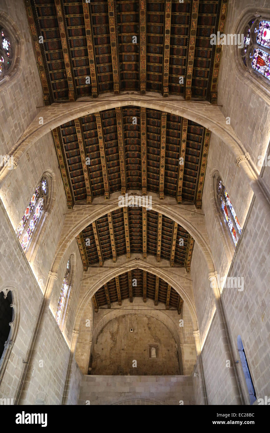 Spain. Barcelona. The Palatine Chapel of St. Agatha (1302). Built under King James II. Complex of Grand Royal Palace. - Stock Image