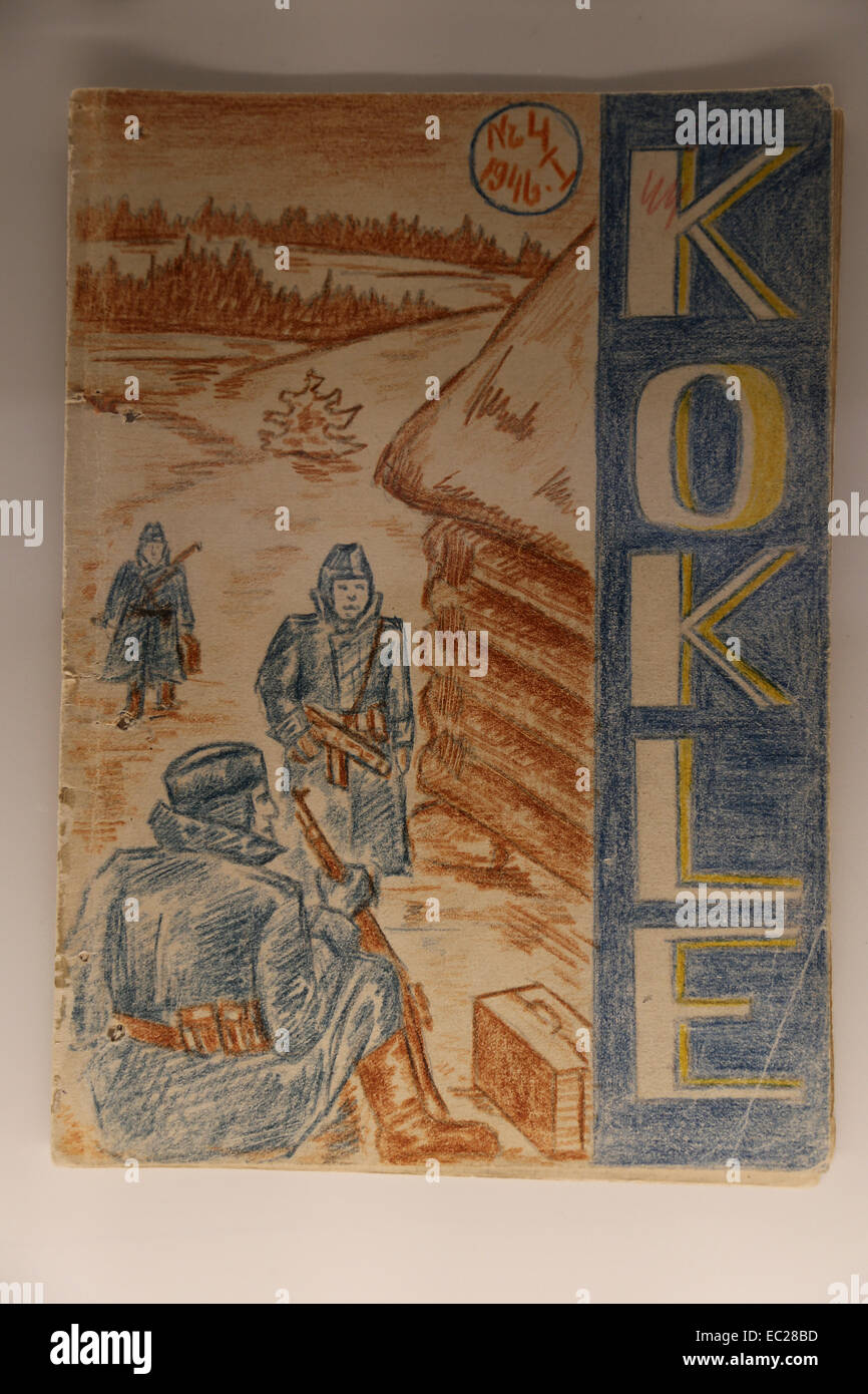 Latvia, Occupied. Exposition. Underground publication Kokle (1945-1946). Edited by secondary school students. Resistance. - Stock Image