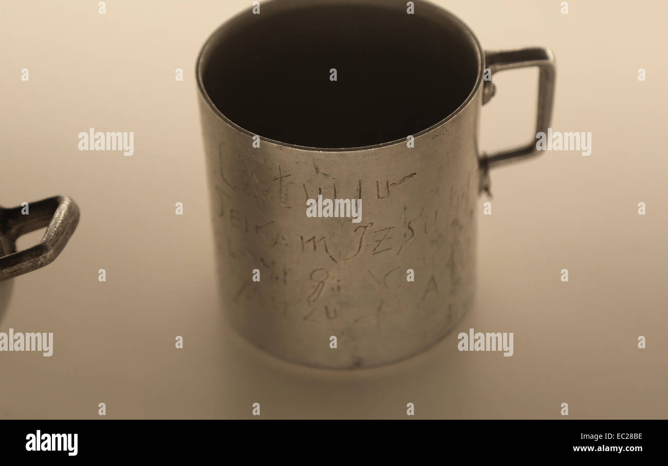 Two mugs with information recorded by prisoners during the deportation on the Gulag, June 1941. Latvia, Occupied. - Stock Image