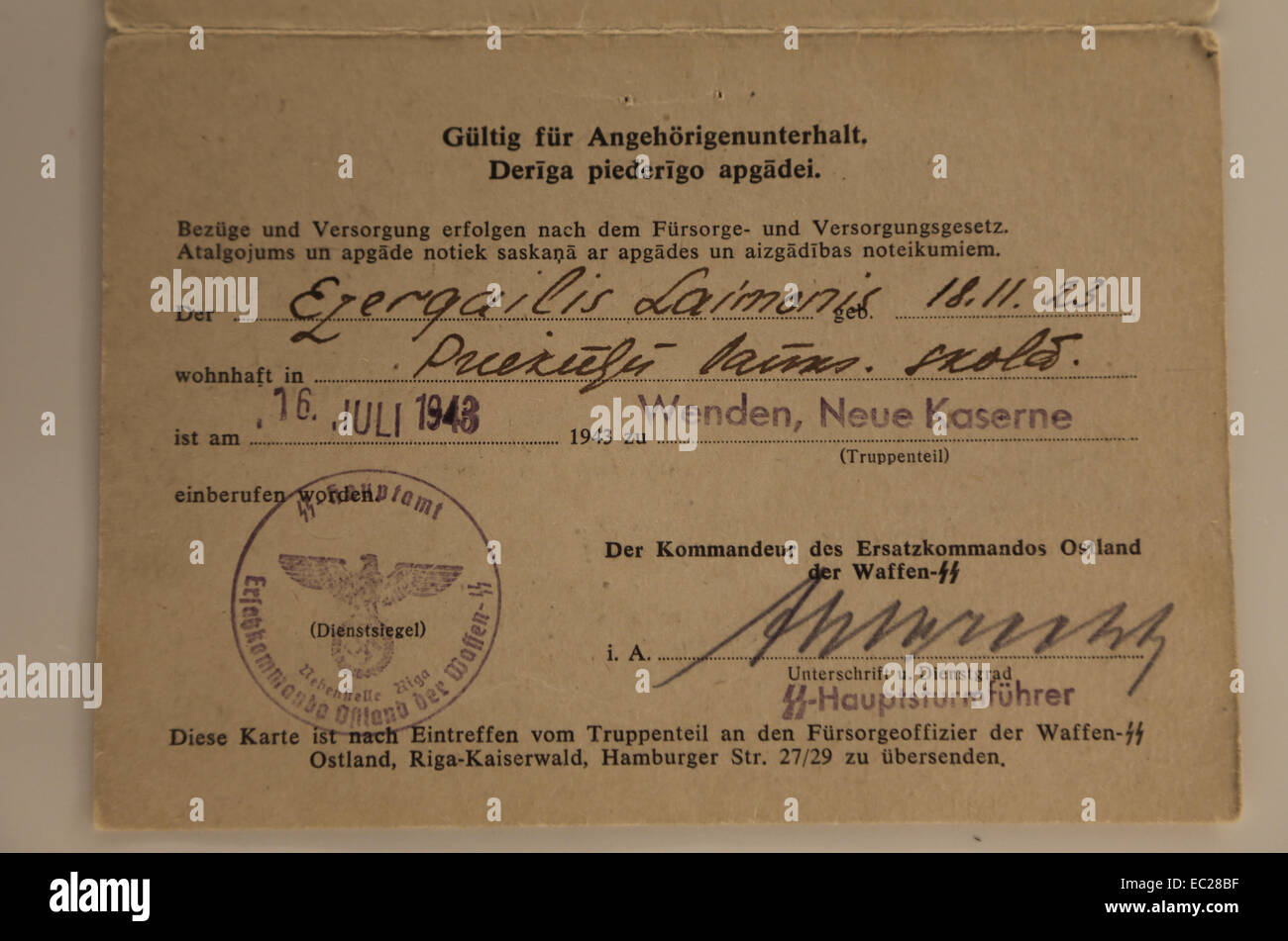 German occupation of Latvia (WWII). Conscription order into the Latvian SS Volunteer Legion. 1943. Created by Hitler. - Stock Image