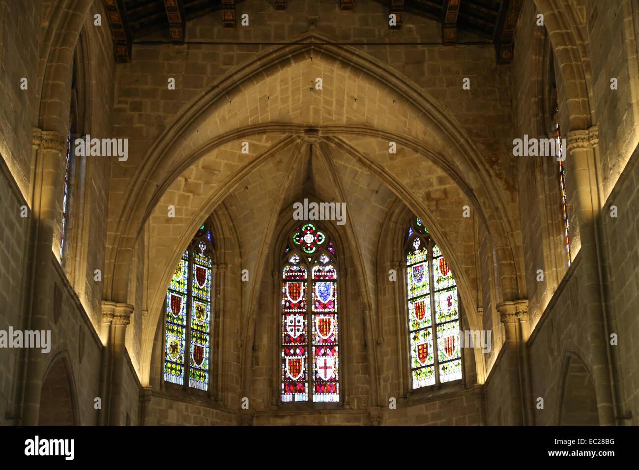 Spain. Barcelona. The Palatine Chapel of St. Agatha (1302). Built under King James II. Polygonal apse. - Stock Image