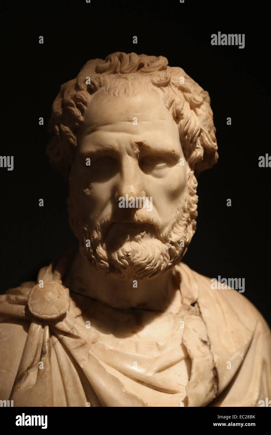 Roman Art. Spain. Barcelona. Marble bust of a man. 2nd century AD. City History Museum. Barcelona. - Stock Image