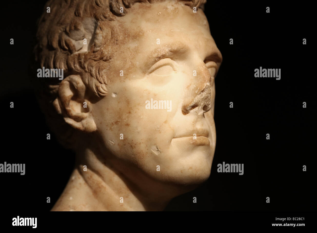 Roman art. Funerary portrait.1st c. AD. Excavations of the Roman walls of Barcino . City History Museum. Barcelona. - Stock Image