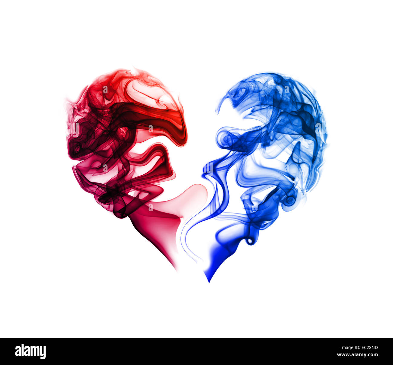 Abstract Red And Blue Heart Of The Smoke On A White Background Stock