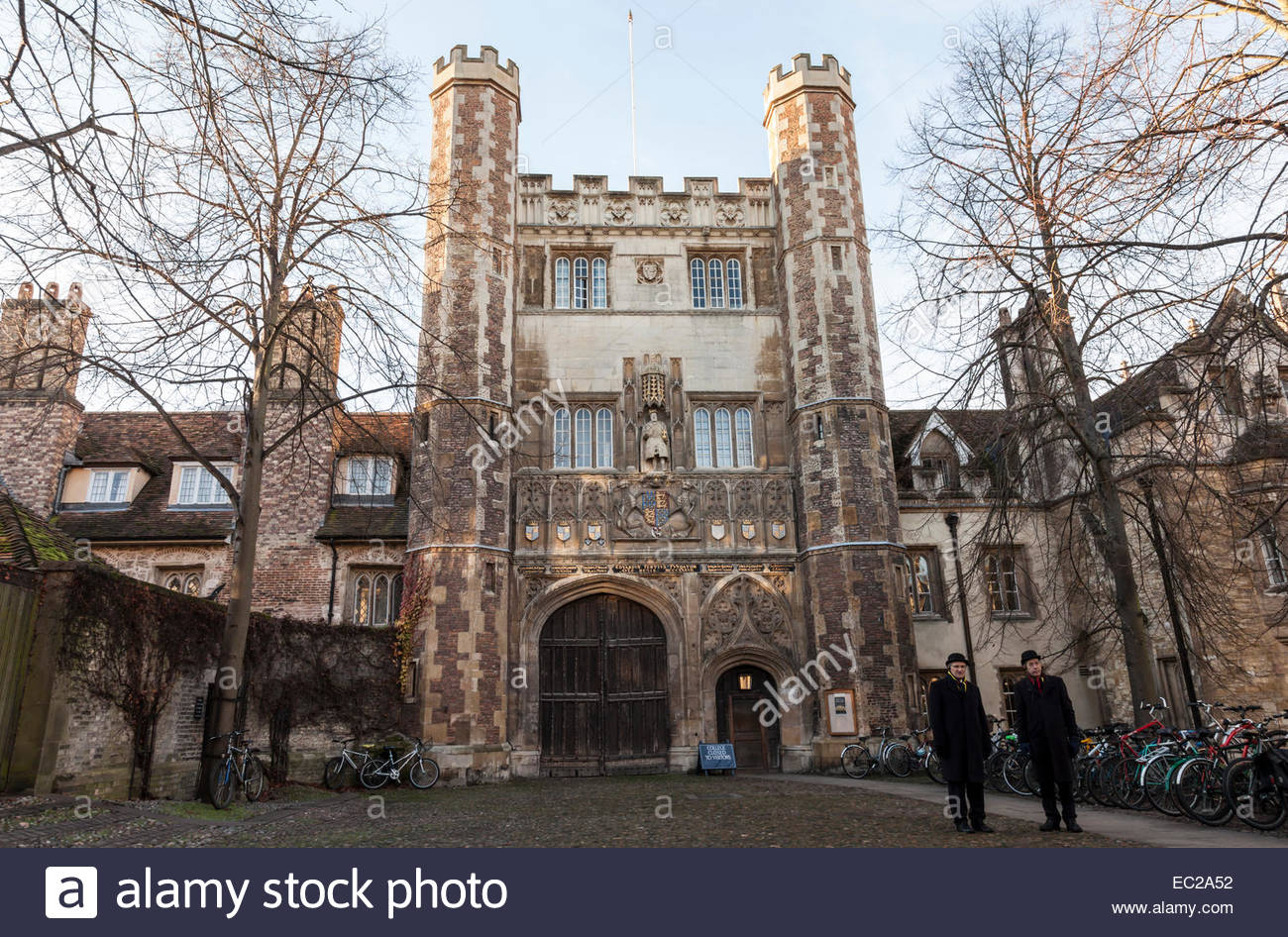 Porters outside the main entrance to Trinity College, Cambridge, England, UK - Stock Image