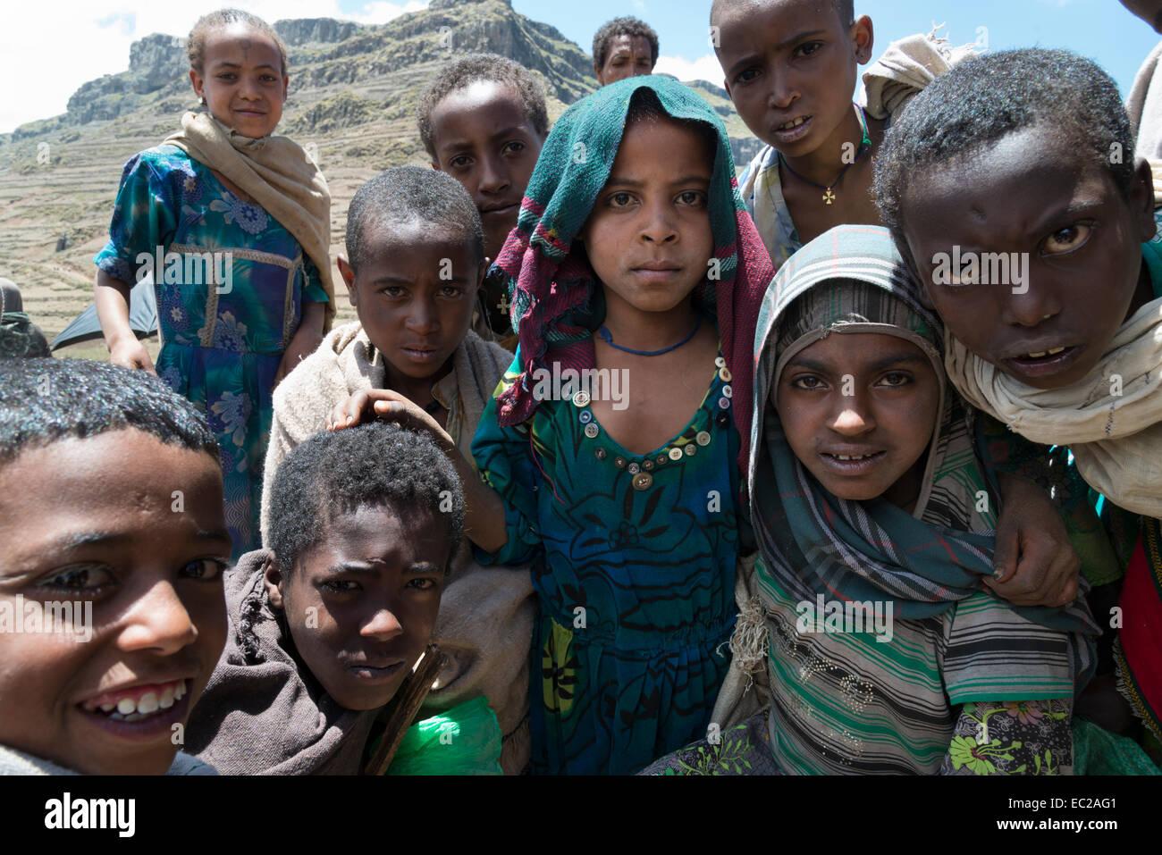 Children. Abuna Yosef. Lalibela area. Northern Ethiopia. - Stock Image