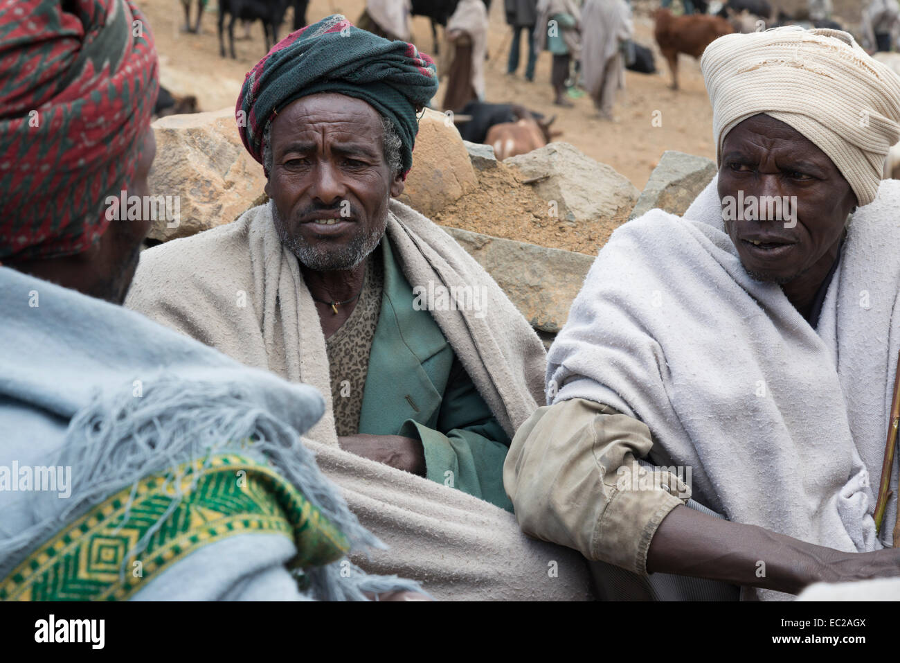 Farmers. Abuna Yosef. Lalibela area. Northern Ethiopia. - Stock Image