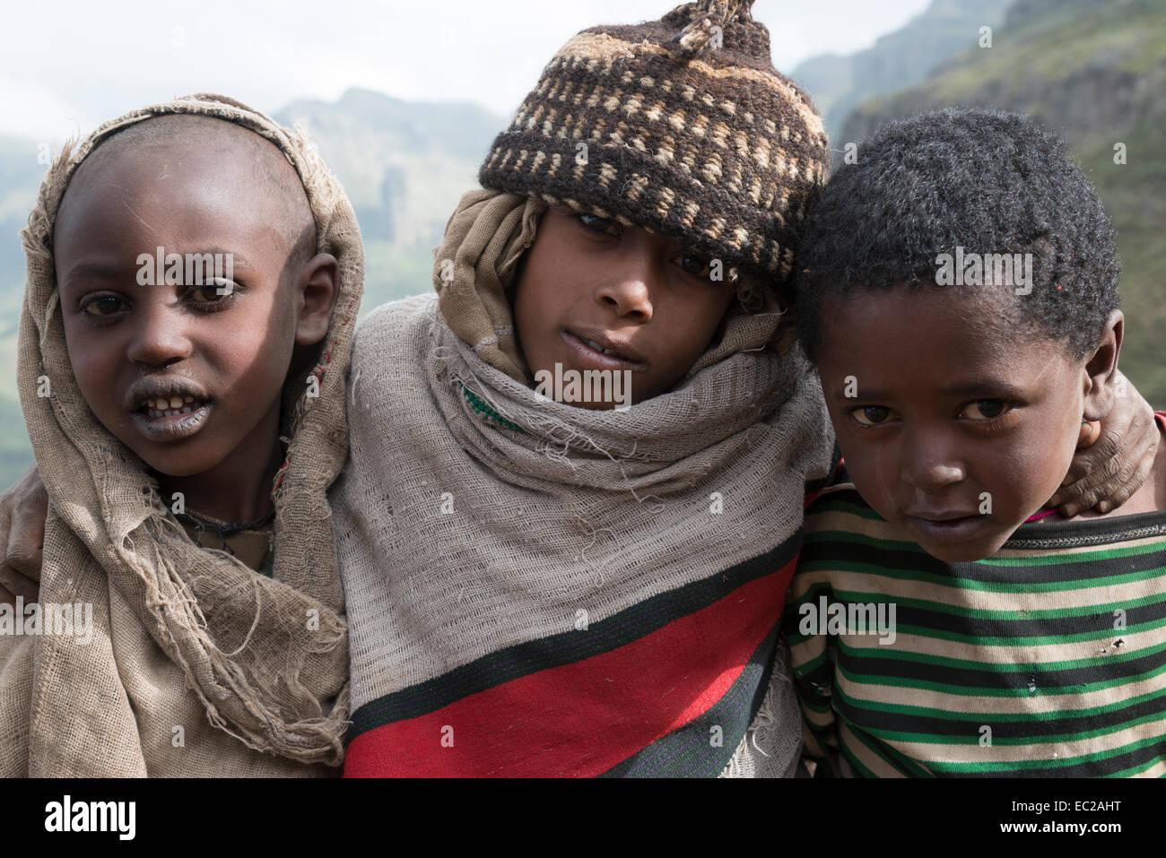 Portrait of young sheperds. Abuna Yosef. Lalibela area. Northern Ethiopia. - Stock Image
