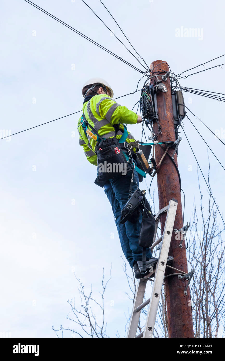 Phone line maintenance. BT Openreach telephone engineer at the top of a telegraph pole maintaining phone and broadband - Stock Image