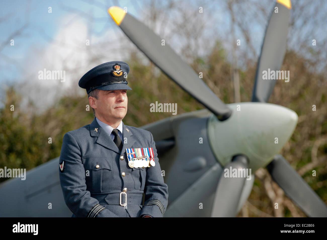 Squadron Leader Shaun Pascoe RAF St Mawgan Newquay Cornwall UK - Stock Image