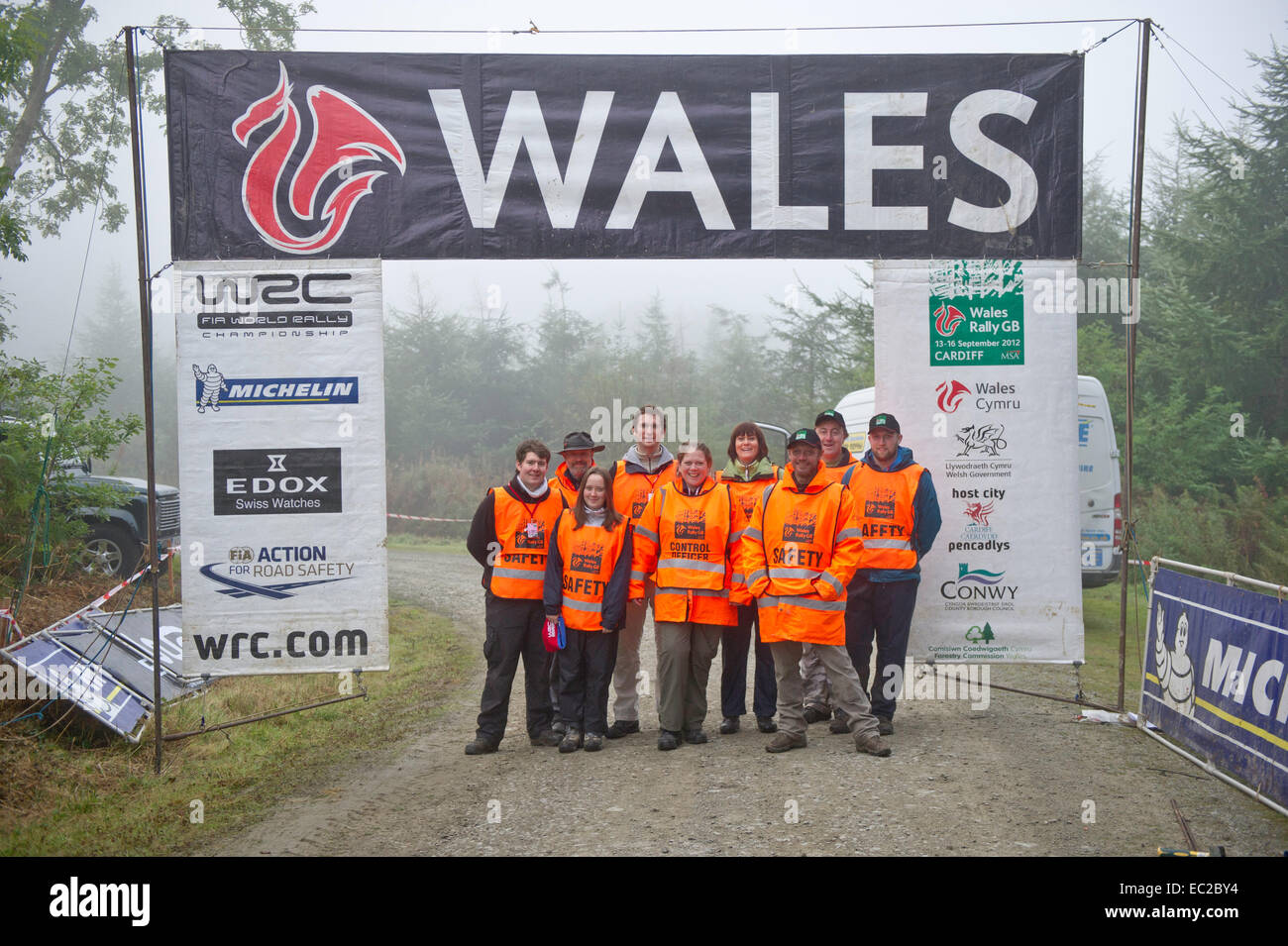 Safety officials Welsh rally GB - Stock Image
