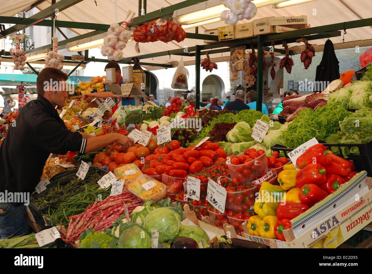 Fruit market of the Bolzano in South Tyrol. - Stock Image