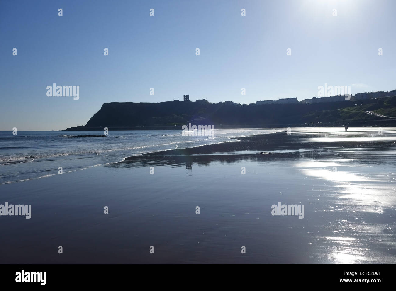 Low tide and a large expanse of shining sand at North Bay at Scarborough on the north east coast of North Yorkshire - Stock Image