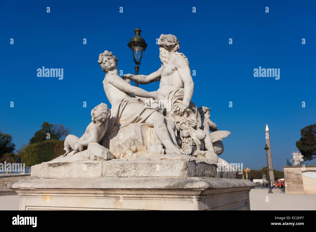 Statue in the Tuilleries, Paris, Ile-de-france, France - Stock Image