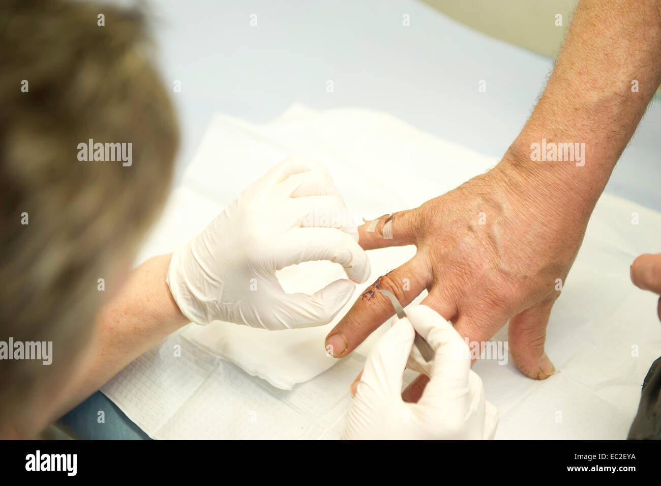 A nurse dresses a wound at an NHS clinic - Stock Image