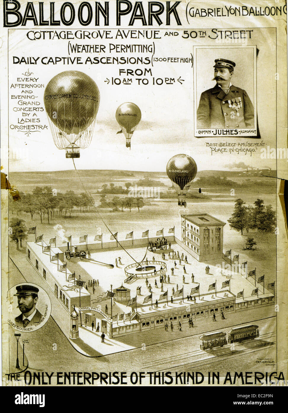BALLOON PARK at corner of Cottage Grove and 50th Street, Chicago. 1883 - Stock Image