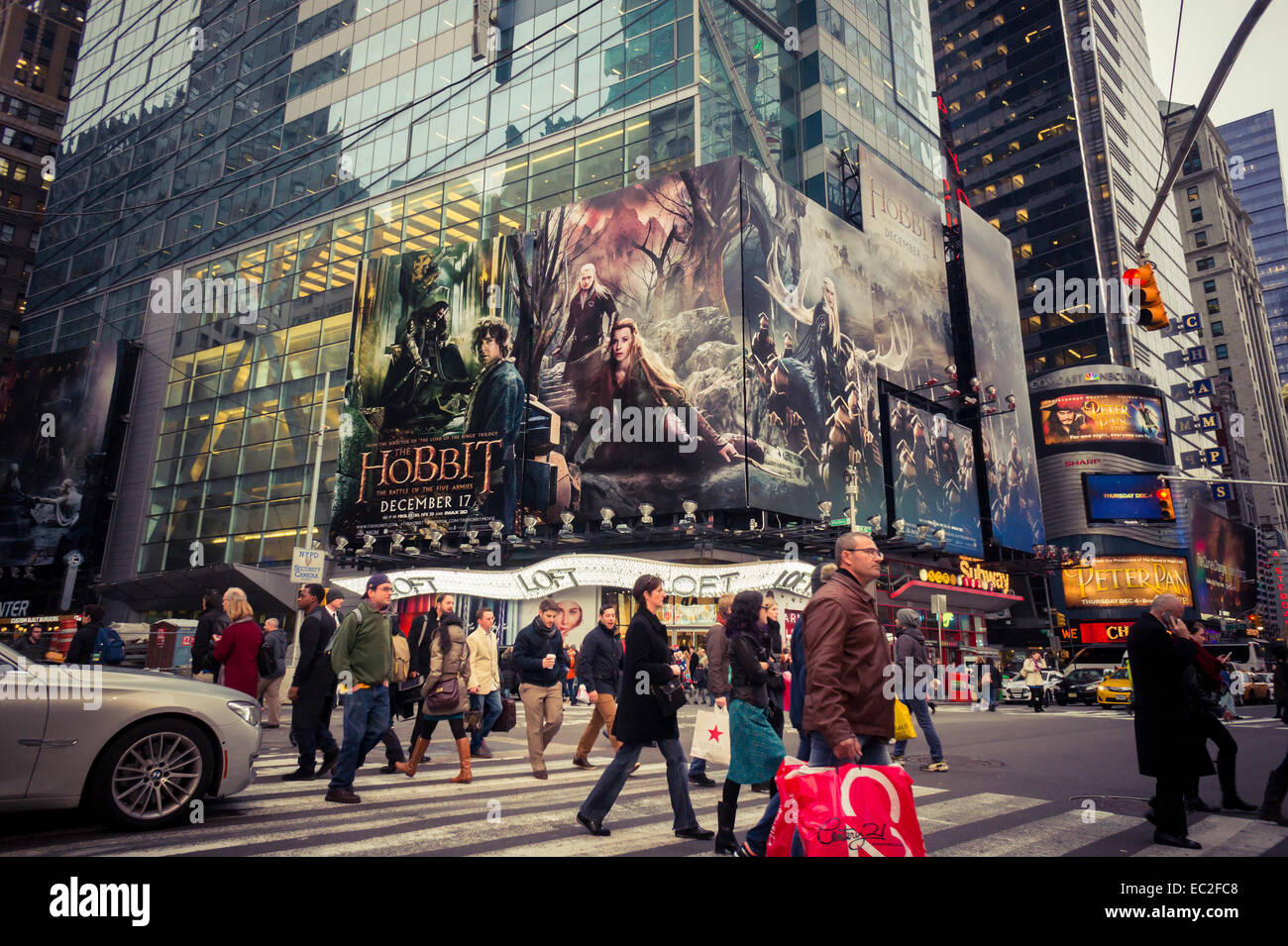 Advertising for the new  'The Hobbit: Battle of the Armies' in Times Square in New York on Thursday, December - Stock Image