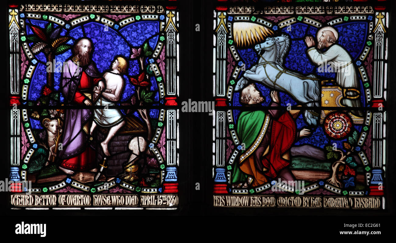 A stained glass window by William Wailes depicting Abraham and his son  Isaac, St Bartholomew Church, Richard's - Stock Image