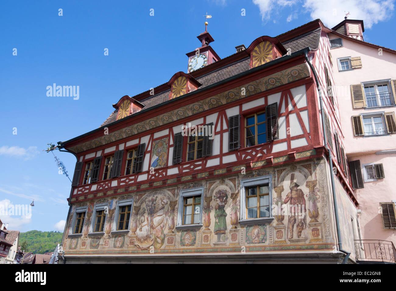 Town hall, Stein am Rhein, High Rhine, Canton of Schaffhausen, Switzerland, Europe - Stock Image