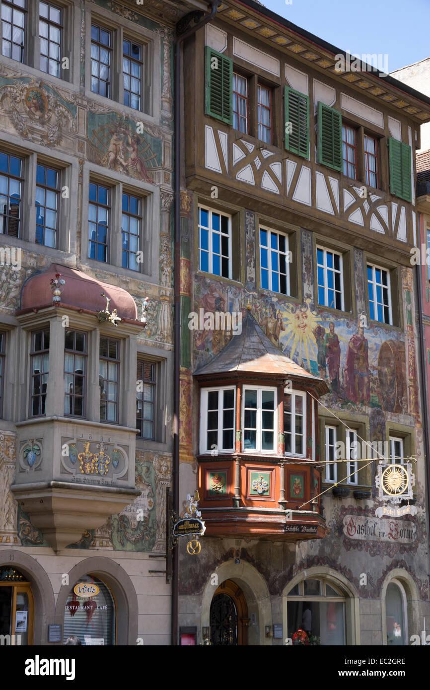 Houses with facade paintings, Stein am Rhein, High Rhine, Canton of Schaffhausen, Switzerland, Europe - Stock Image