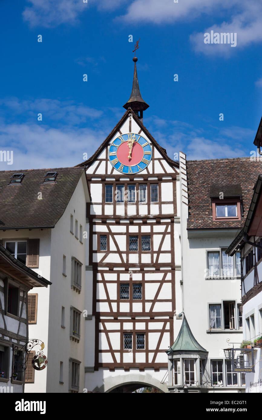 Untertor gate, Stein am Rhein, High Rhine, Canton of Schaffhausen, Switzerland, Europe - Stock Image