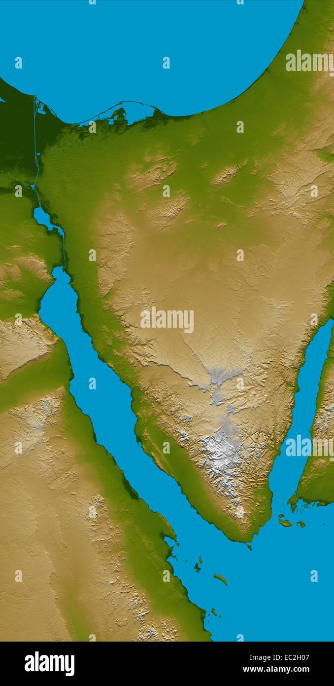 satellite view of Sinai Peninsula Red Sea - Stock Image