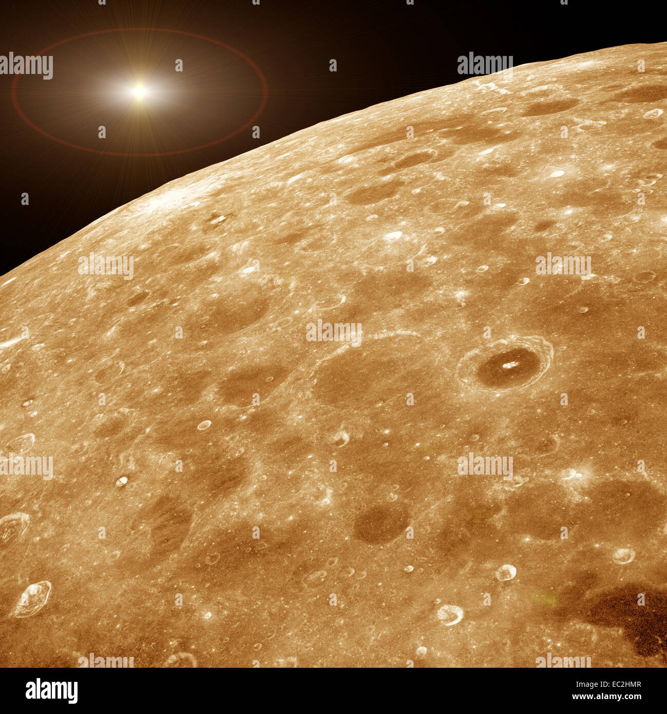 distant star and closeup of moon surface - Stock Image