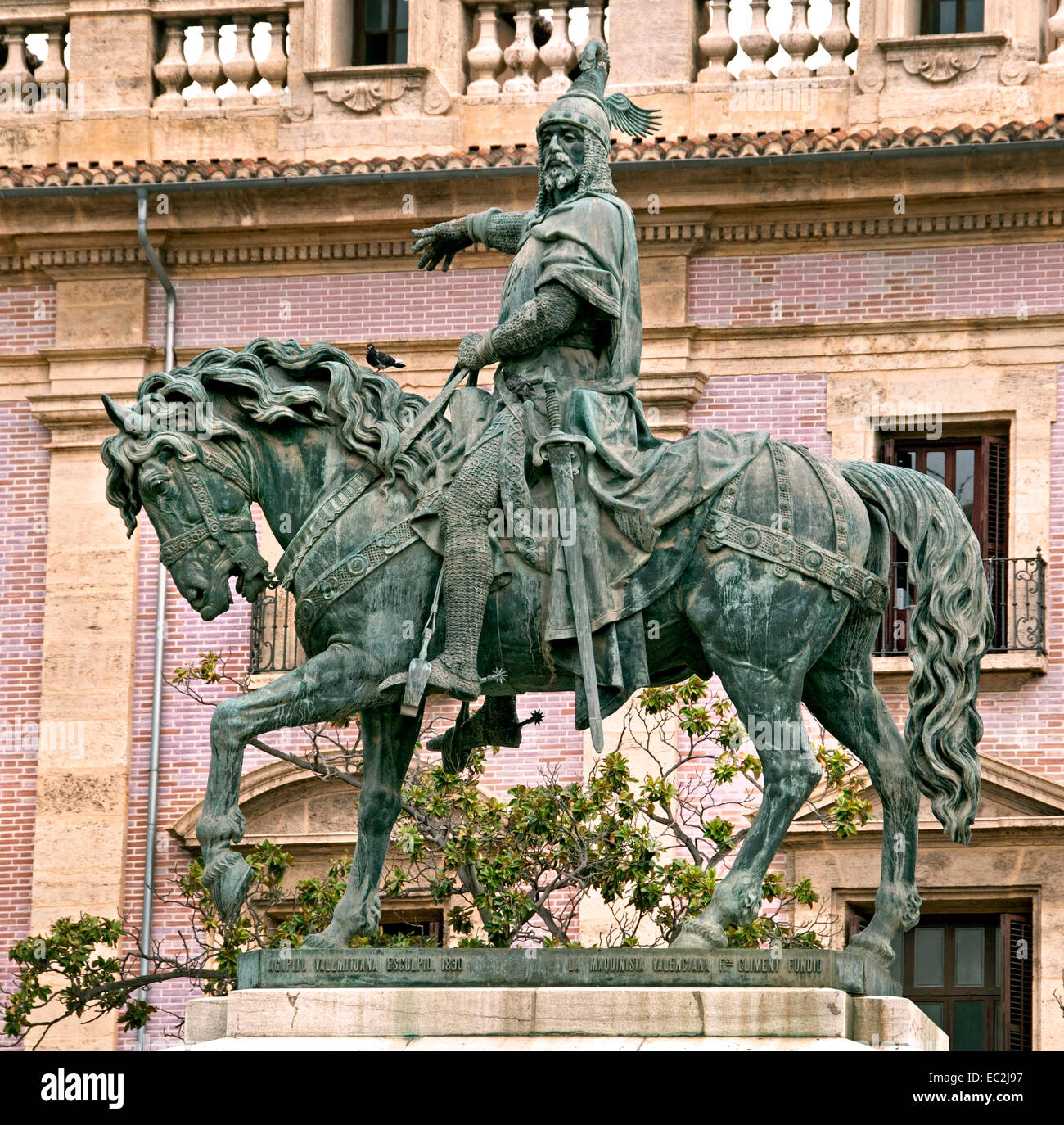 Statue of King Jaume I ( James I the Conqueror ) Old Town City Center Valencia Spain Spanish ( king of Aragon, Valencia - Stock Image