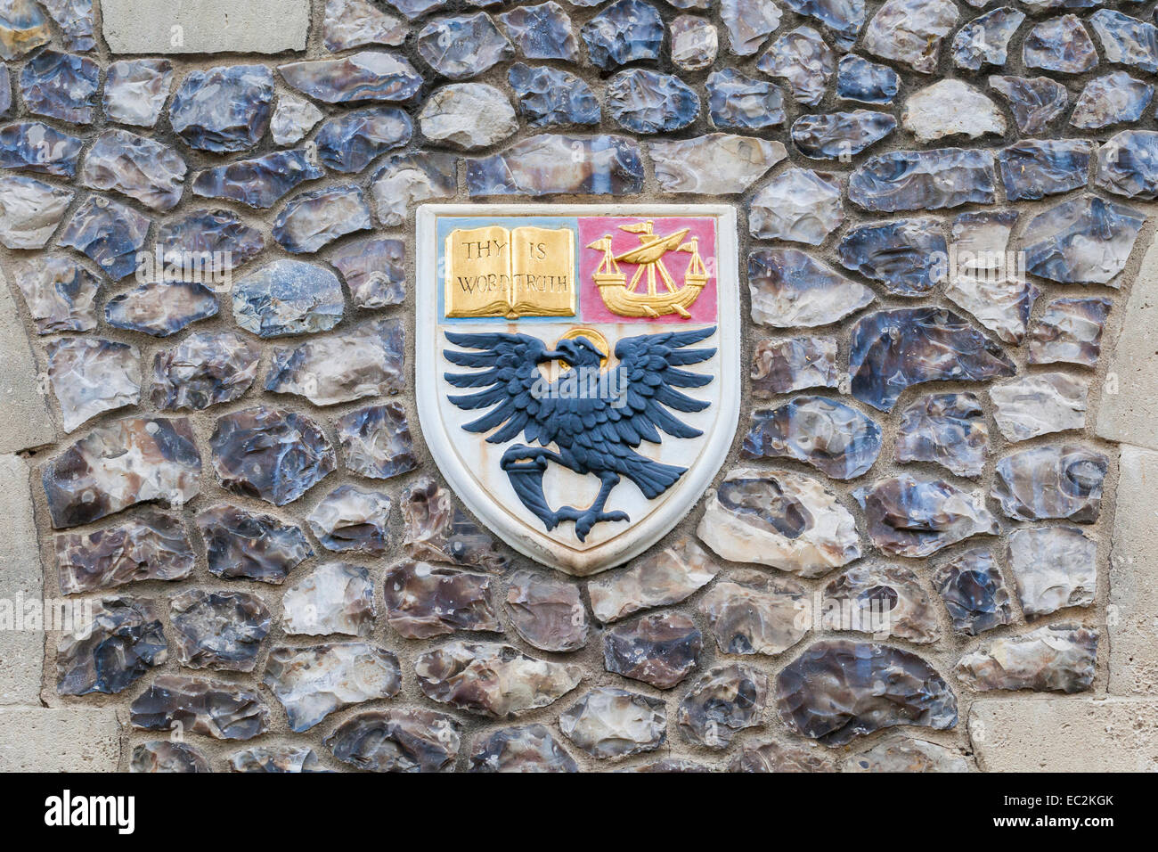 Coat of arms on the walls of church house, Deans Yard, London, England - Stock Image