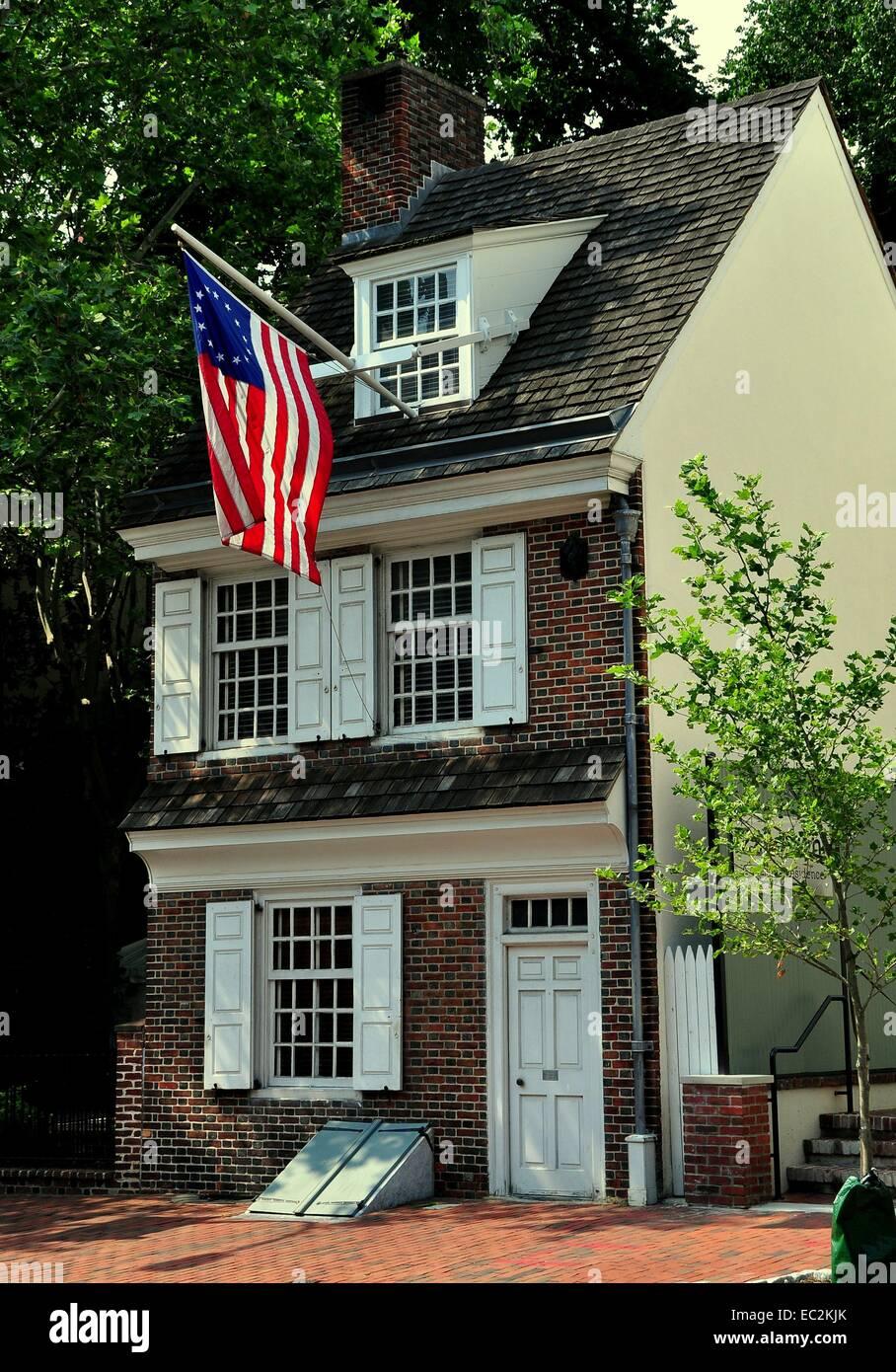 Philadelphia, Pennsylvania:  Circa 1740 Betsy Ross House at 239 Arch Street - Stock Image