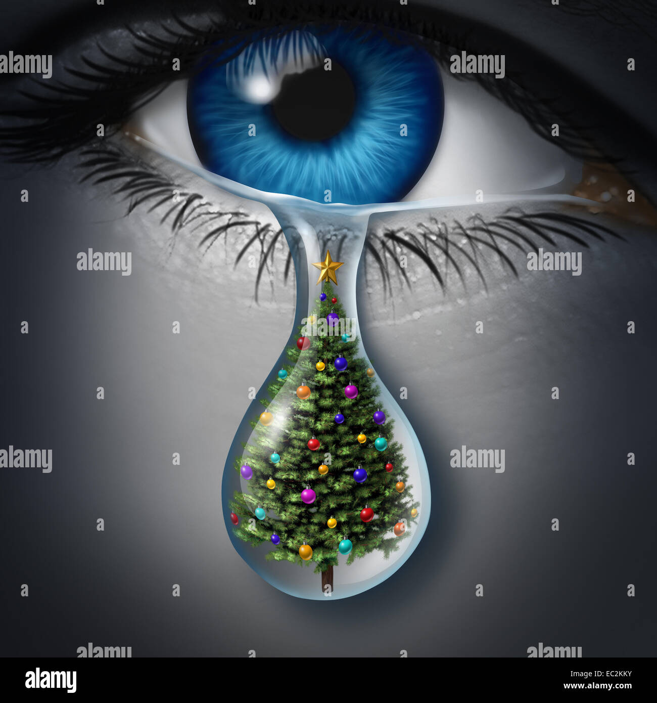 Holiday depression and winter season anxiety and emotional crisis concept as a human eyeball crying a tear with - Stock Image