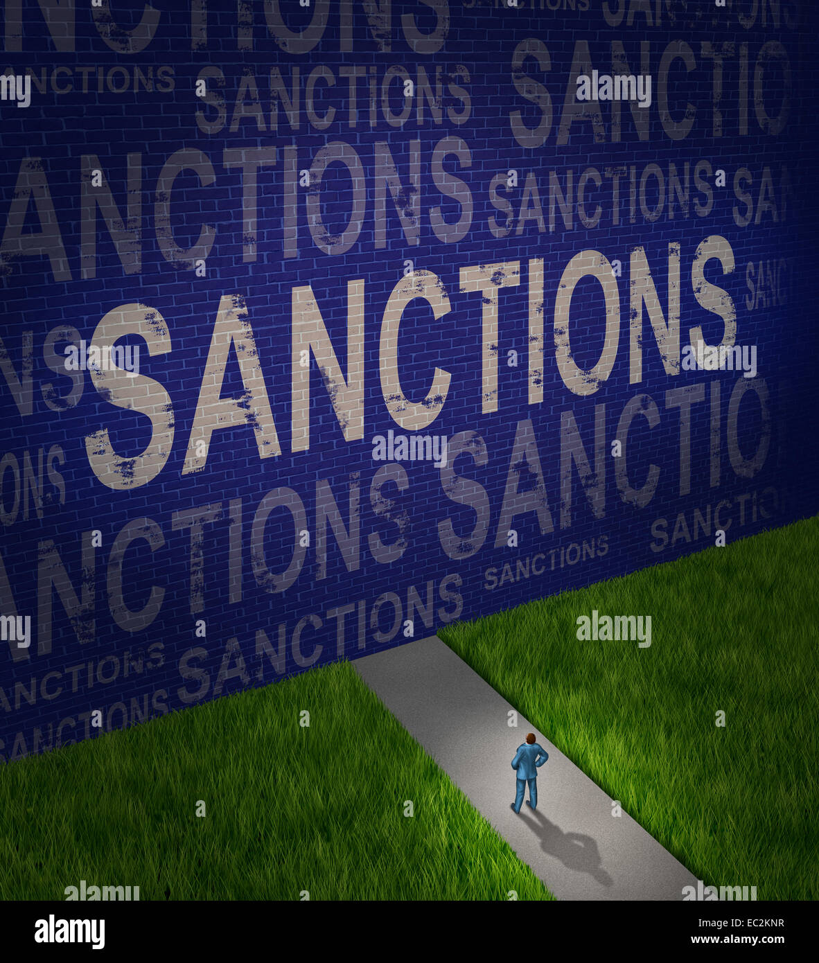 Economic sanctions as a global economy symbol for problems with political disputes affecting trade as a man standing - Stock Image