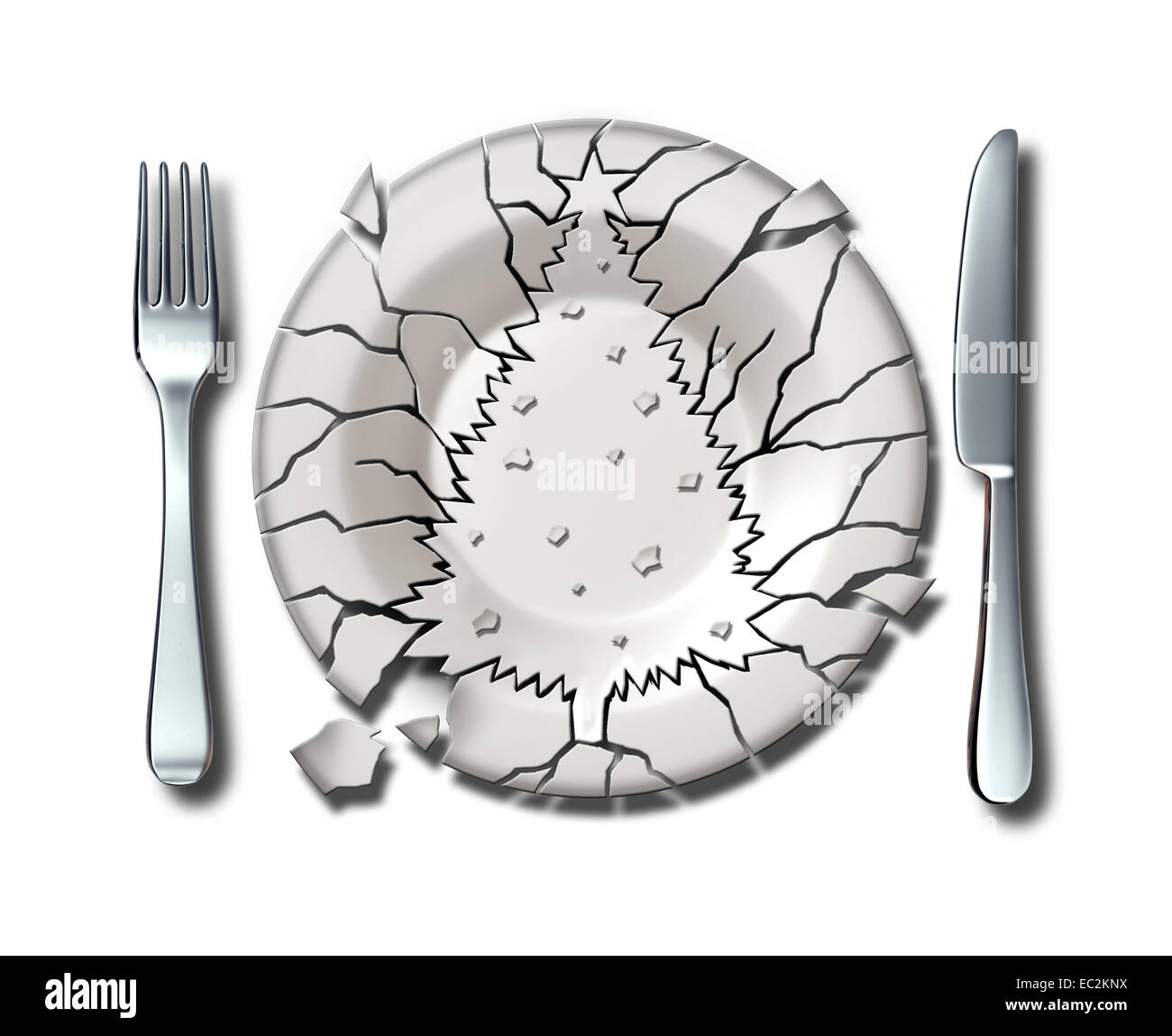 Christmas holiday stress concept as a broken dinner plate shaped as an xmas tree as a symbol of feeling stressed - Stock Image