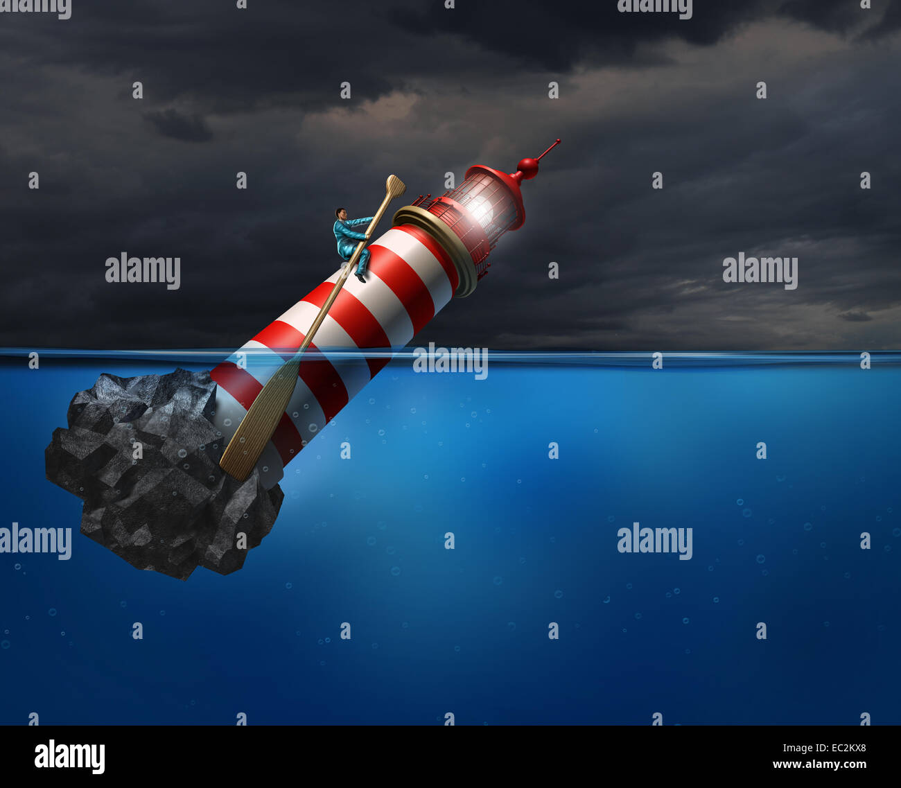 Empower concept as a person using a lighthouse beacon as if it was a oar guiding the business symbol with an oar - Stock Image