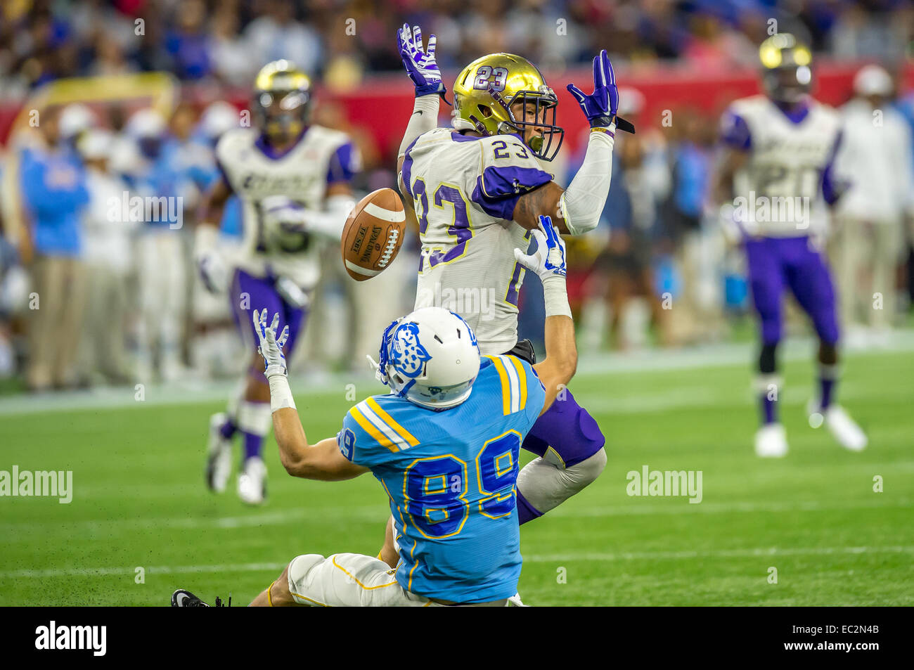 Southern University Jaguars Wide Receiver Mike Jones (89) And Alcorn State  Braves Defensive Back Devon Francois (23) Fight For The Football Which Was  ...
