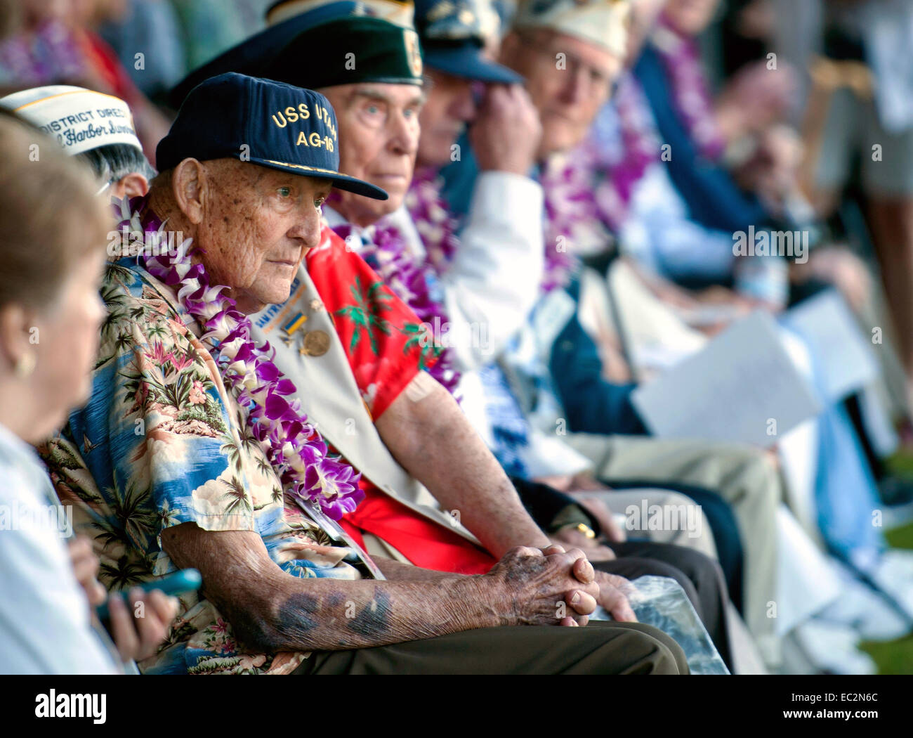 Gilbert Meyer, a survivor of the 1941 attack on Pearl Harbor during ceremonies at the 73rd Anniversary commemoration - Stock Image