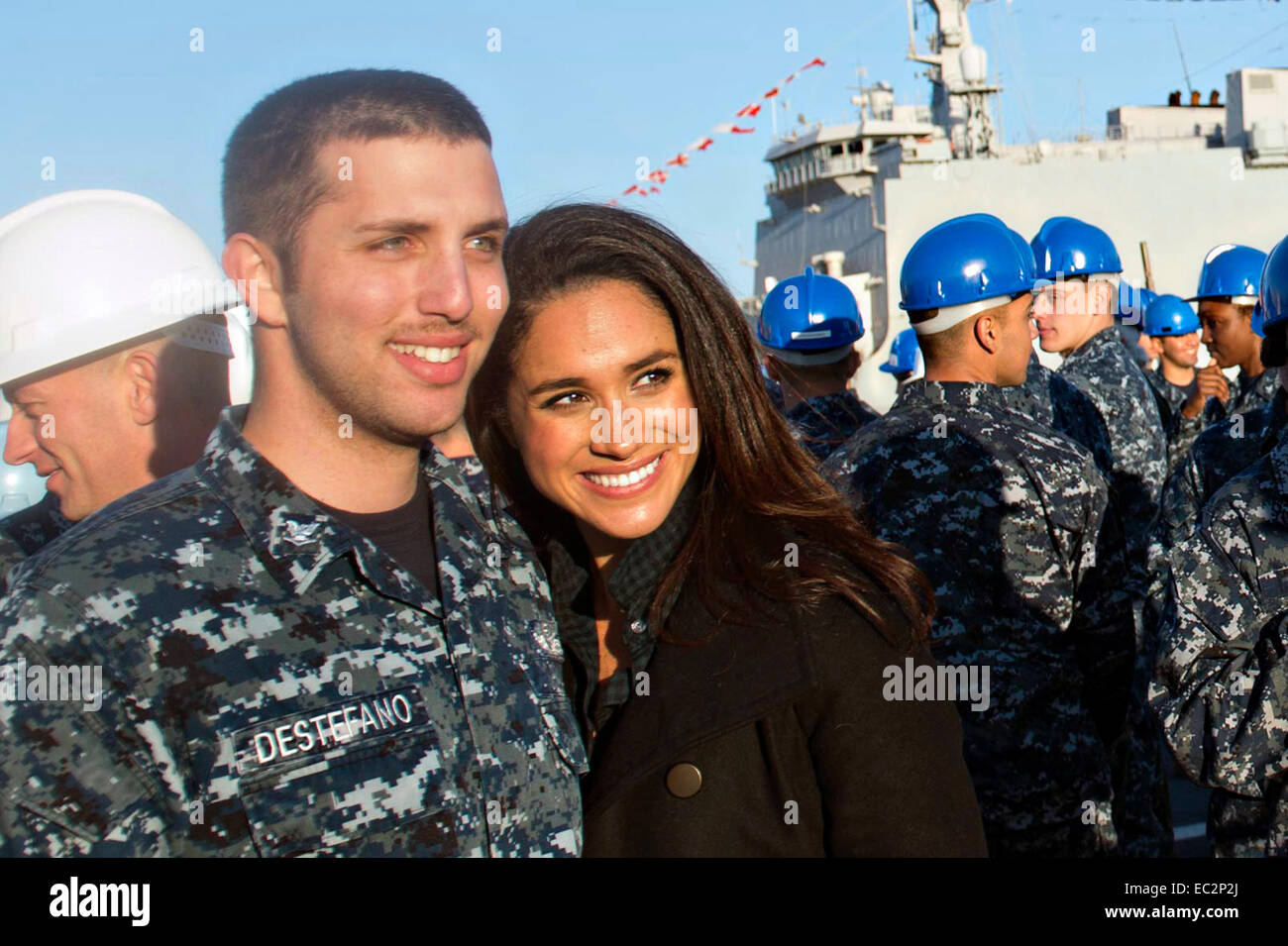 Actress Meghan Markle, poses for a photo with a U.S. Navy ...