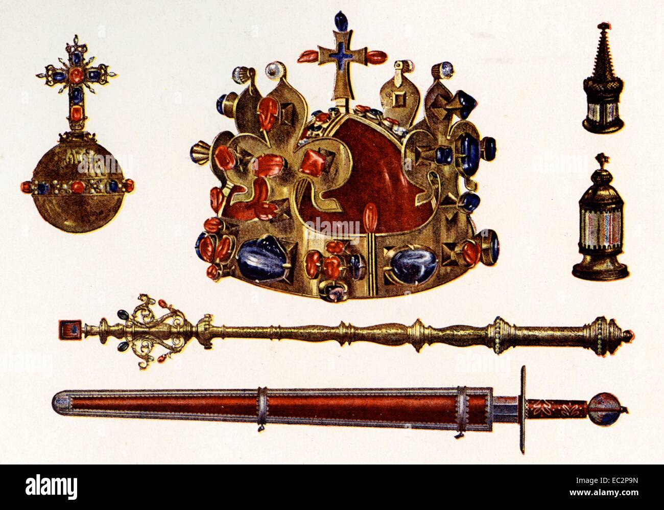 The Bohemian Crown Jewels, sometimes called the Czech Crown Jewels Stock Photo