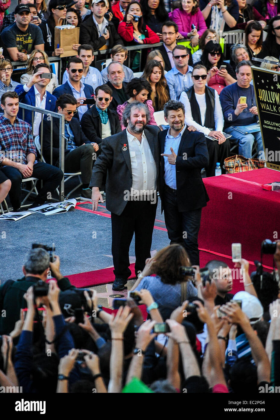 Los Angeles, USA. 8th Dec, 2014. New Zealand director Peter Jackson (L) and British actor Andy Serkis (R) attend - Stock Image