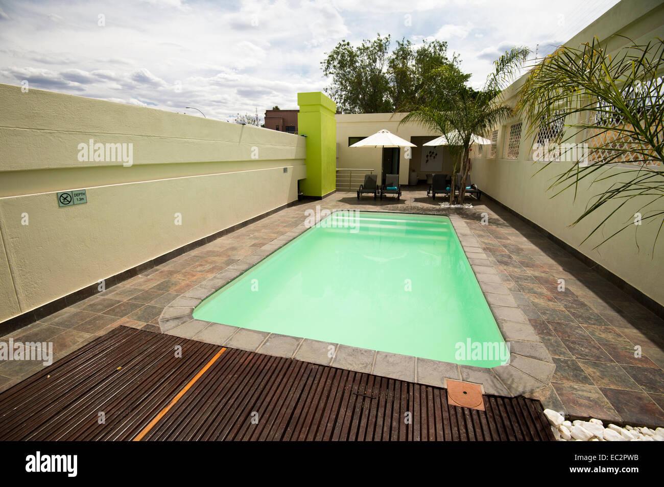 Namibia, Winhoek. Galton House Guest Lodging. Relaxing pool. - Stock Image
