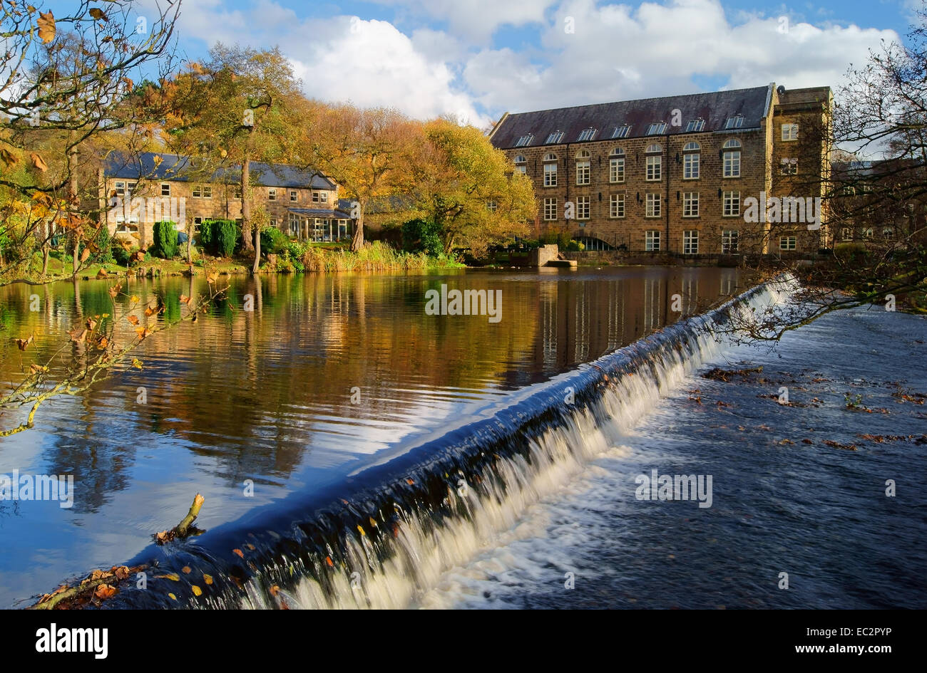 UK,Derbyshire,Peak District,Bamford Weir and Mill on The River Derwent - Stock Image