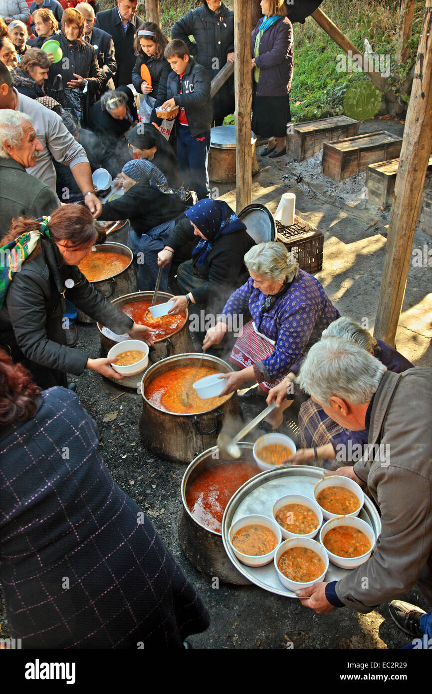 During the local feast for the Presentation of Virgin Mary at the abandoned village of Palaioziaziako, Pieria, Macedonia, - Stock Image