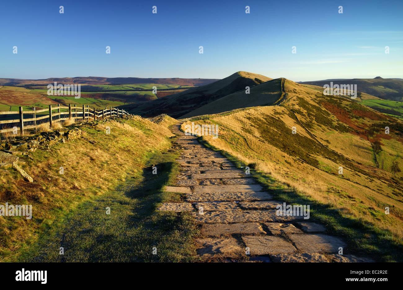 UK,Derbyshire,Peak District,Footpath along The Great Ridge - Stock Image